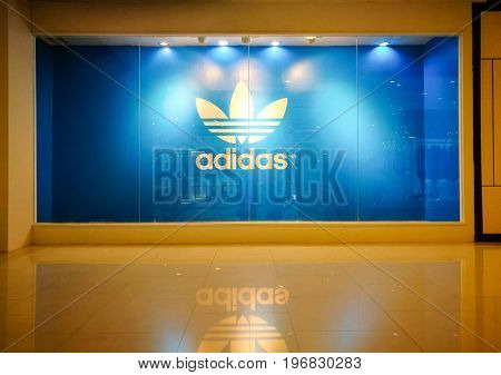 Bangkok Thailand - July 18 2017 : Adidas Originals Shop At Central World on July 18 2017. Adidas Originals Symbol Display Show At Storefront Of Retail Store Adidas Is A Famous German Multinational Corporation Designs Sport Apparel And Accessories.