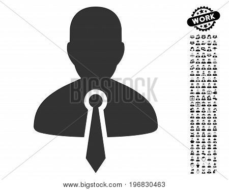 Lawyer icon with black bonus professional pictograms. Lawyer vector illustration style is a flat gray iconic symbol for web design app user interfaces.