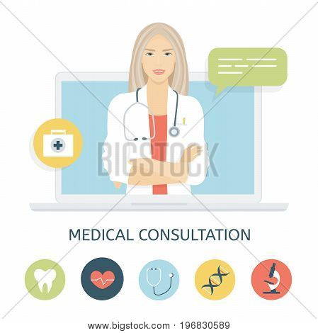 Woman doctor on the laptop screen. Online medical consultation and support. Concept vector illustration in flat style with icons