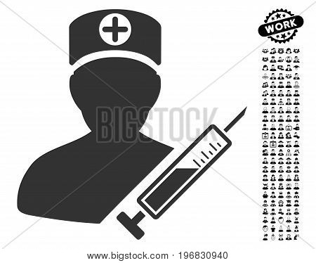 Medic icon with black bonus job icon set. Medic vector illustration style is a flat gray iconic symbol for web design app user interfaces.