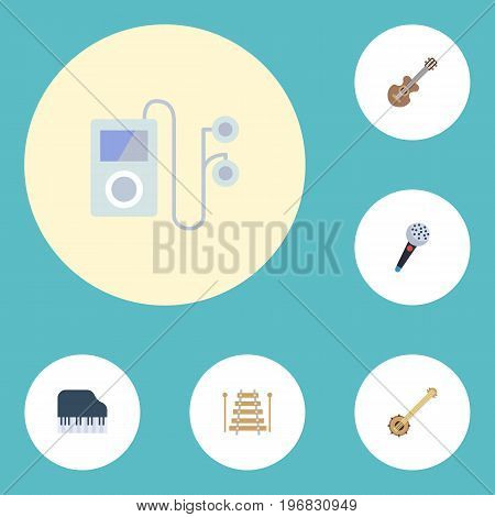 Flat Icons Octave Keyboard, Banjo, Musical Instrument And Other Vector Elements