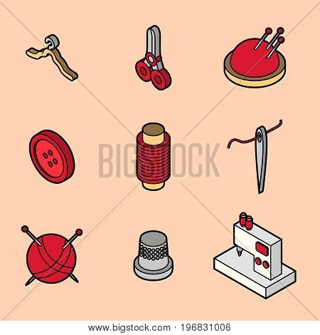 Sewing flat outline isometric icons. Vector illustration, EPS 10