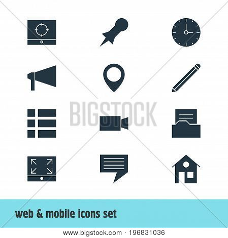 Editable Pack Of Clock, List, Pen And Other Elements.  Vector Illustration Of 12 Online Icons.