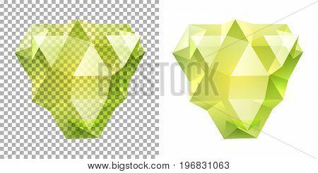 Vector transparent complex geometric shape based on tetrahedron. Yellow