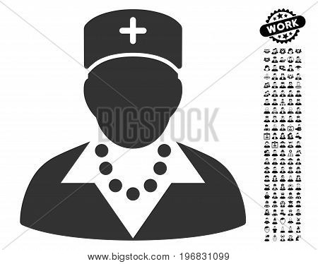 Nurse icon with black bonus men images. Nurse vector illustration style is a flat gray iconic symbol for web design app user interfaces.