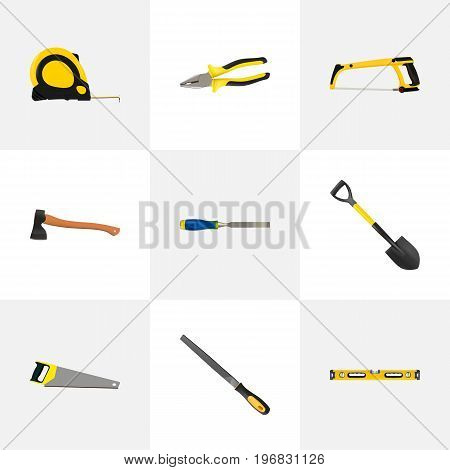 Realistic Arm-Saw, Hatchet, Hacksaw And Other Vector Elements