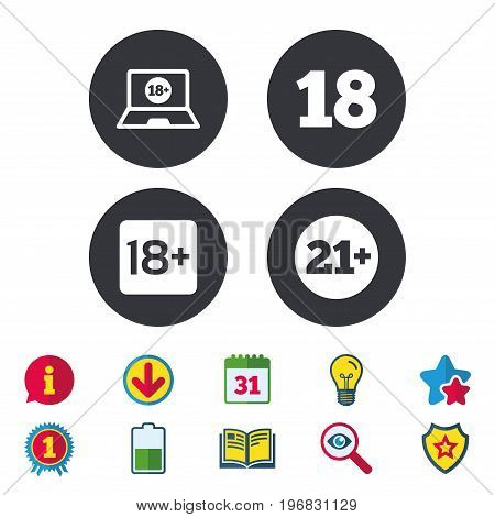 Adult content icons. Eighteen and twenty-one plus years sign symbols. Notebook website notice. Calendar, Information and Download signs. Stars, Award and Book icons. Light bulb, Shield and Search