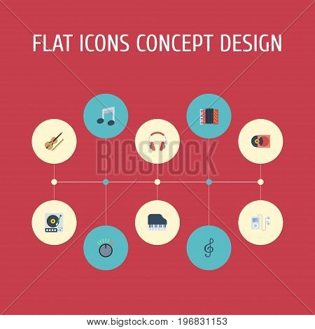 Flat Icons Fiddle, Knob, Tone Symbol And Other Vector Elements
