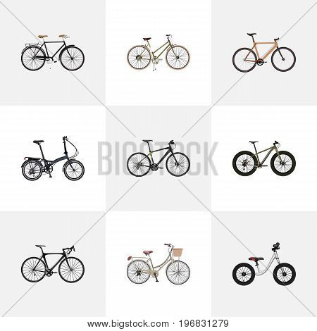 Realistic Timbered, Fashionable, Folding Sport-Cycle And Other Vector Elements