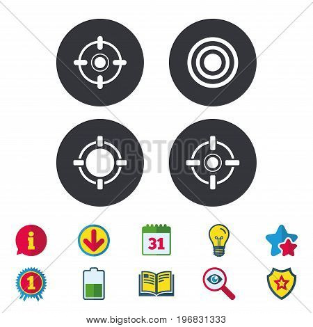 Crosshair icons. Target aim signs symbols. Weapon gun sights for shooting range. Calendar, Information and Download signs. Stars, Award and Book icons. Light bulb, Shield and Search. Vector