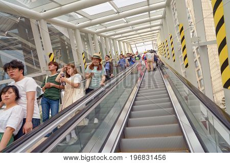 SEOUL, SOUTH KOREA -  MAY 20, 2017: Seoul 7017 Skypark escalator and elevator on road to Toegye-ro. The Seoullo 7017 Skypark, is an elevated linear park in central Seoul  which opened on May 20, 2017.