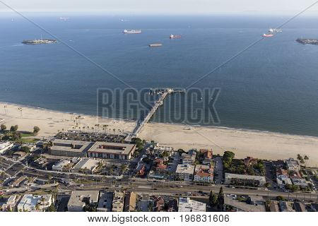Aerial view of Belmont Pier and the Pacific Coast in Long Beach, California.