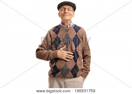 Satisfied senior holding his hand on his stomach after having a meal or a drink isolated on white background
