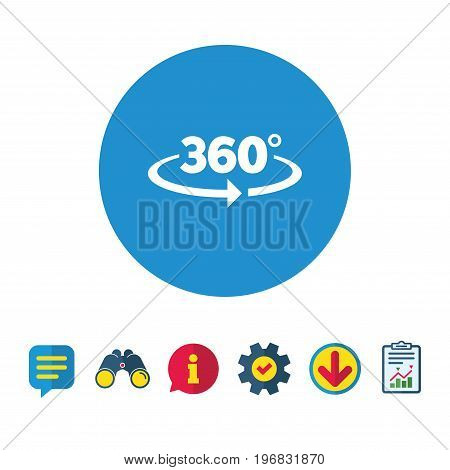 Angle 360 degrees sign icon. Geometry math symbol. Full rotation. Information, Report and Speech bubble signs. Binoculars, Service and Download icons. Vector