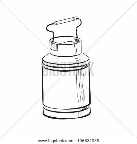 Sketch Can of milk. Fresh milk - country style vector sketch. Vintage aluminium milk.