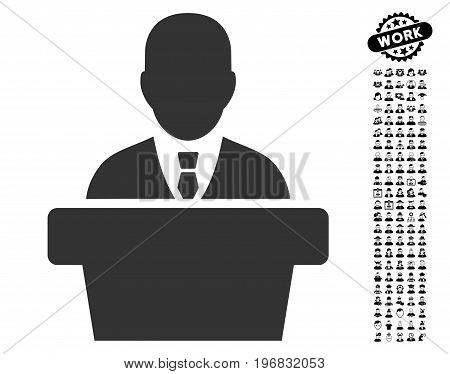 Politician icon with black bonus people design elements. Politician vector illustration style is a flat gray iconic symbol for web design app user interfaces.