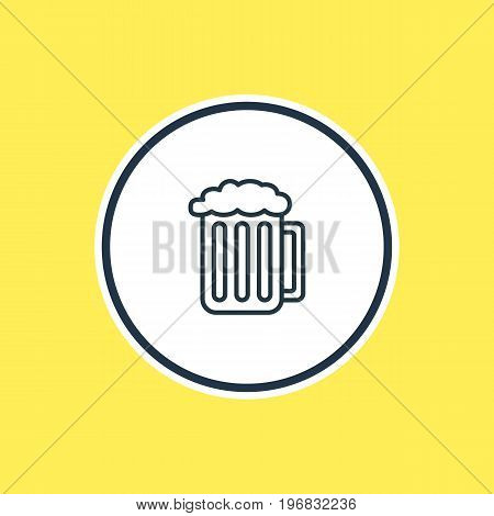 Beautiful Feast Element Also Can Be Used As Draught Element.  Vector Illustration Of Beer Outline.