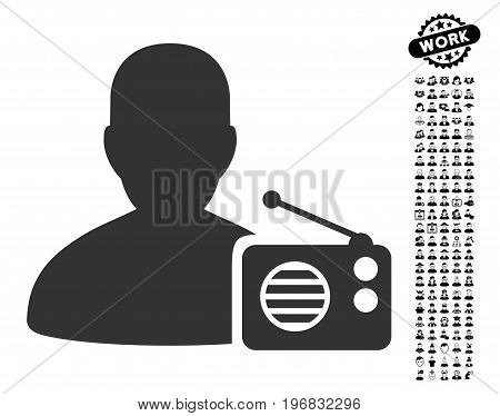 Radio Dictor icon with black bonus job icon set. Radio Dictor vector illustration style is a flat gray iconic symbol for web design app user interfaces.