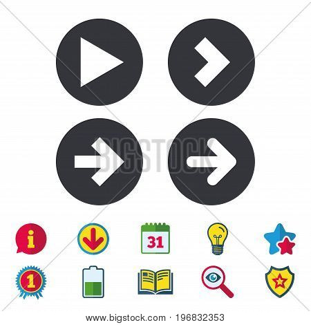 Arrow icons. Next navigation arrowhead signs. Direction symbols. Calendar, Information and Download signs. Stars, Award and Book icons. Light bulb, Shield and Search. Vector