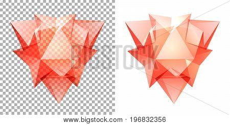Vector transparent complex geometric shape based on tetrahedron. Red
