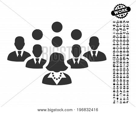 Staff Team icon with black bonus profession pictograms. Staff Team vector illustration style is a flat gray iconic symbol for web design app user interfaces.