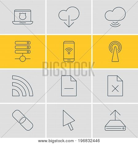 Editable Pack Of Delete Data, Telephone, Data Upload And Other Elements.  Vector Illustration Of 12 Network Icons.