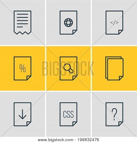 Editable Pack Of Style, Copy, Question And Other Elements.  Vector Illustration Of 9 Document Icons.