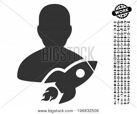 Startuper icon with black bonus people images. Startuper vector illustration style is a flat gray iconic symbol for web design app user interfaces.