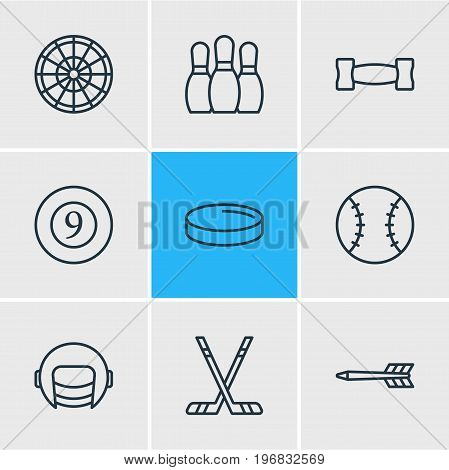Editable Pack Of Hockey, Puck, Bowling And Other Elements.  Vector Illustration Of 9 Sport Icons.
