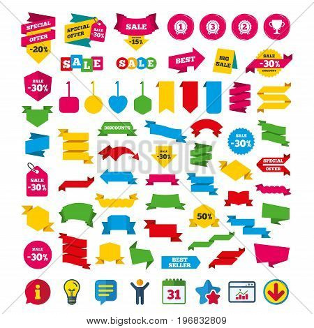 First, second and third place icons. Award medals sign symbols. Prize cup for winner. Shopping tags, banners and coupons signs. Calendar, Information and Download icons. Stars, Statistics and Chat