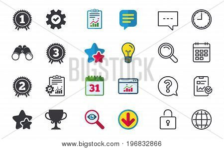 First, second and third place icons. Award medals sign symbols. Prize cup for winner. Chat, Report and Calendar signs. Stars, Statistics and Download icons. Question, Clock and Globe. Vector