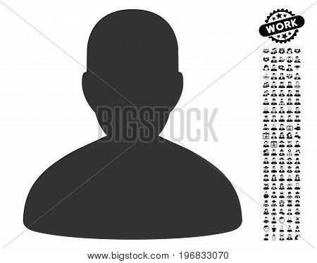 User icon with black bonus profession clip art. User vector illustration style is a flat gray iconic element for web design app user interfaces.