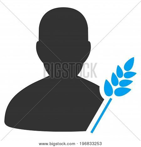 Agriculture Farmer vector pictograph. Style is flat graphic bicolor symbol blue and gray colors white background.