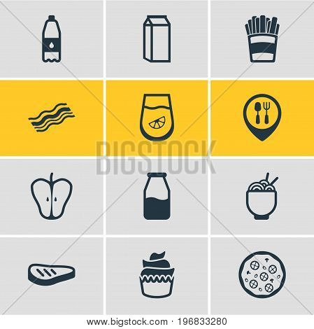 Editable Pack Of Noodles, Dessert, Jonagold And Other Elements.  Vector Illustration Of 12 Eating Icons.