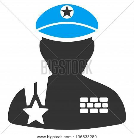 Army General vector icon. Style is flat graphic bicolor symbol blue and gray colors white background.