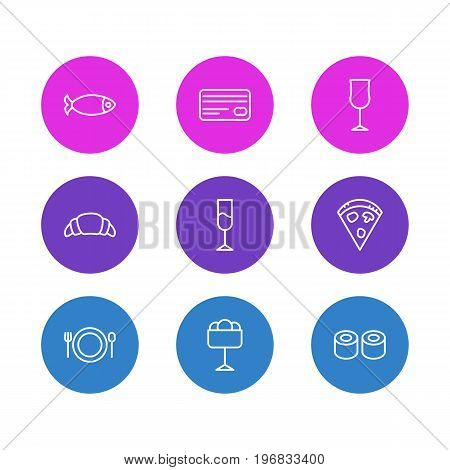 Editable Pack Of Pepperoni, Seafood, Dessert And Other Elements.  Vector Illustration Of 9 Cafe Icons.