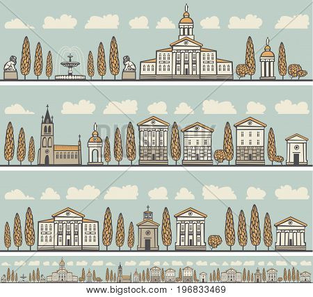 Set of vector seamless horizontal ornaments of old European city with houses parks churches mansions and trees.