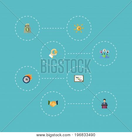 Flat Icons Agreement, Coin, Schedule And Other Vector Elements