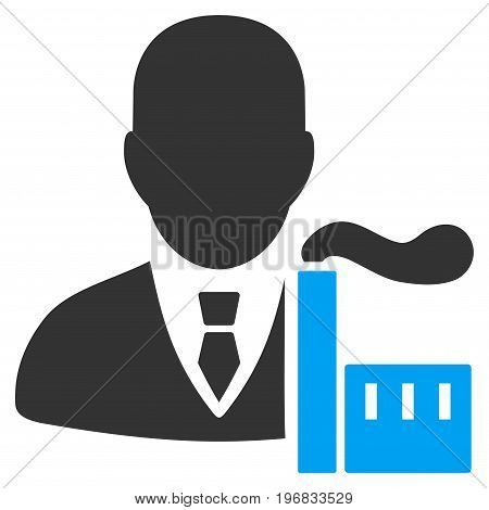 Capitalist Oligarch vector icon. Style is flat graphic bicolor symbol blue and gray colors white background.
