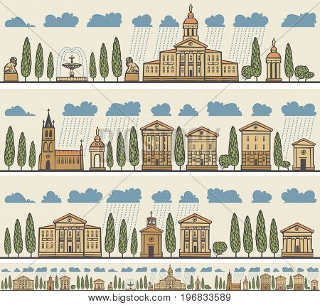 Set of vector horizontal seamless ornaments with an old European city with houses parks churches mansions trees and clouds with rain.