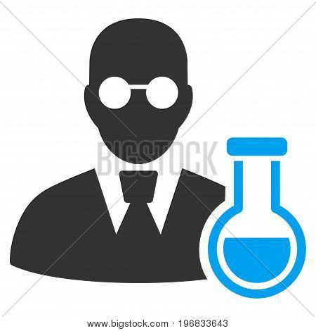 Chemist vector icon. Style is flat graphic bicolor symbol blue and gray colors white background.