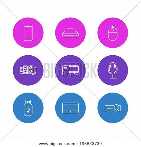 Editable Pack Of Sound Recording, Monitor, Loudspeaker And Other Elements.  Vector Illustration Of 9 Accessory Icons.