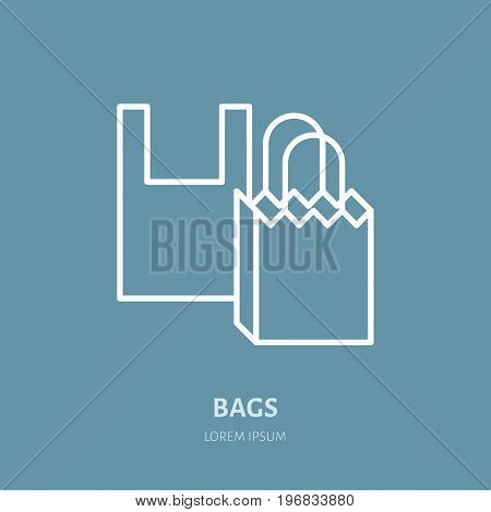 Plastic bag, paper packaging vector flat line icons. Retail store supplies, trade shop, supermarket equipment sign. Commercial object thin linear sign for warehouse store.