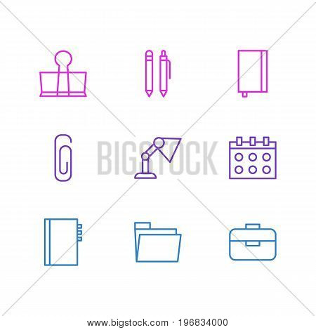 Editable Pack Of Date, Illuminator, Binder Clip And Other Elements.  Vector Illustration Of 9 Stationery Icons.