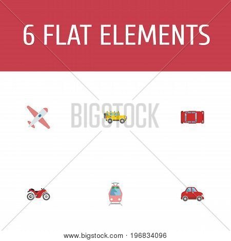 Flat Icons Automotive, Streetcar, Jeep And Other Vector Elements