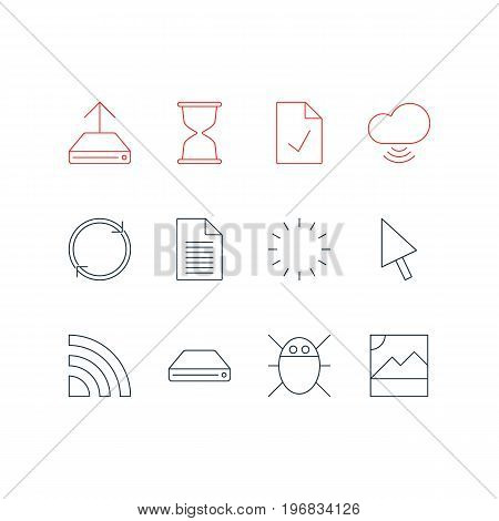 Editable Pack Of Sandglass, Wireless Network , Waiting Elements.  Vector Illustration Of 12 Internet Icons.