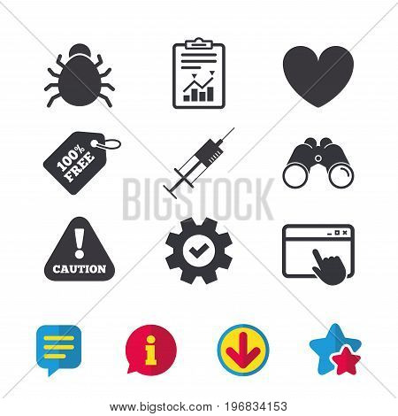 Bug and vaccine syringe injection icons. Heart and caution with exclamation sign symbols. Browser window, Report and Service signs. Binoculars, Information and Download icons. Stars and Chat. Vector