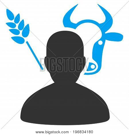 Farmer vector pictograph. Style is flat graphic bicolor symbol blue and gray colors white background.