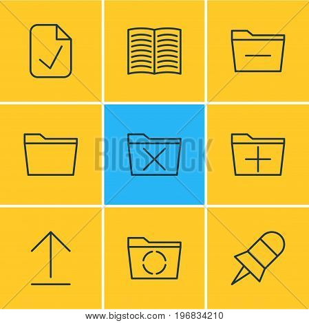 Editable Pack Of Loading, Note, Textbook And Other Elements.  Vector Illustration Of 9 Bureau Icons.