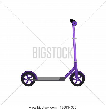 Kick scooter isolated vector illustration, life style activity, sport vehicle toy with wheel, child transport for fun.